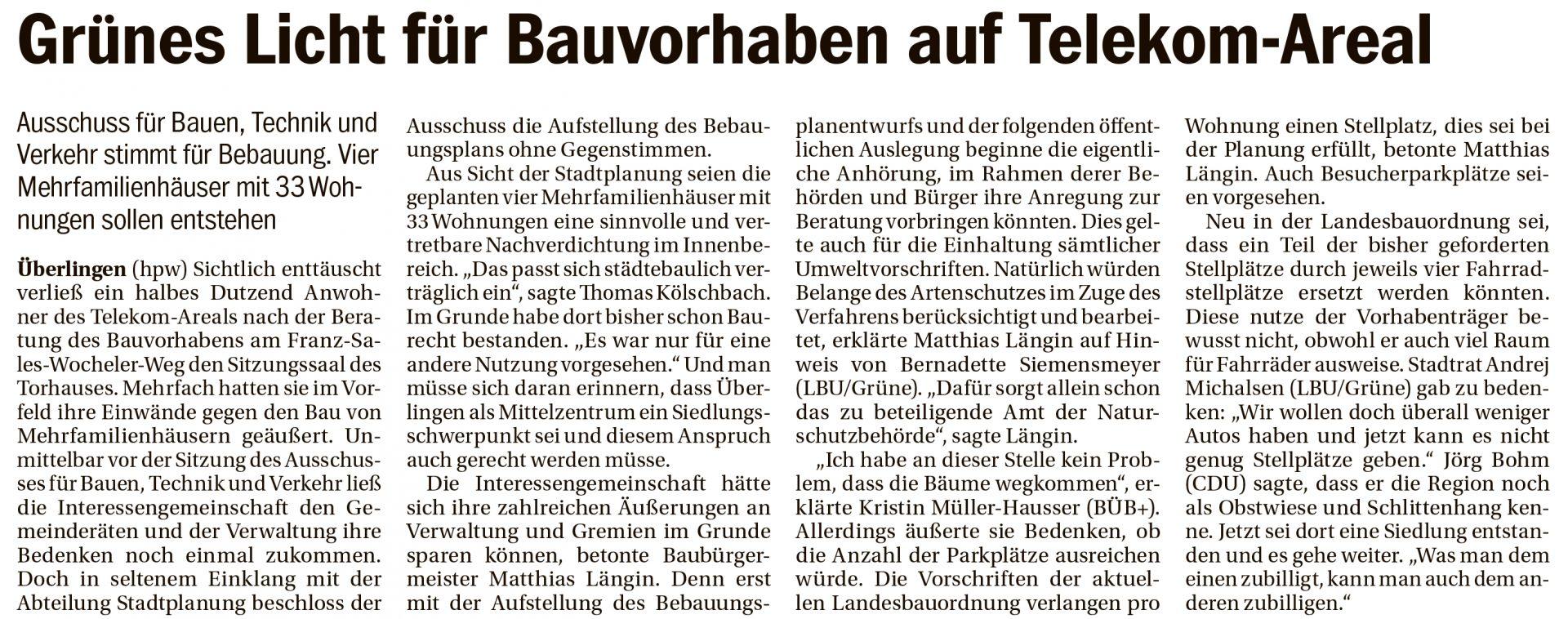 Südkurier Überlingen 05.02.2020